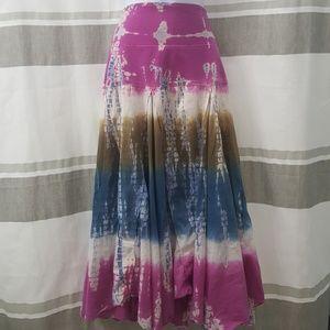 Colorful tie dye long boho skirt